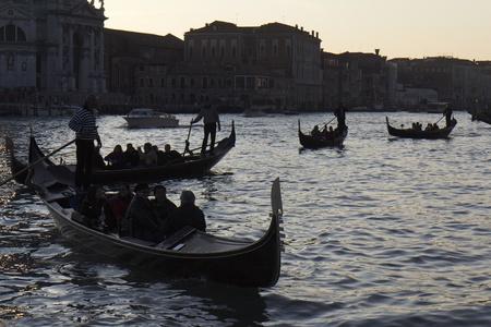 Venice, Italy - November 25, 2011: Four gondolas in Venice at the twilight. Stock Photo - 11502013
