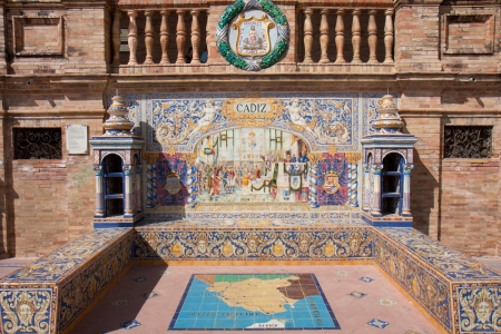 Earthenware bench of Seville, Andalusia, Spain  Editorial