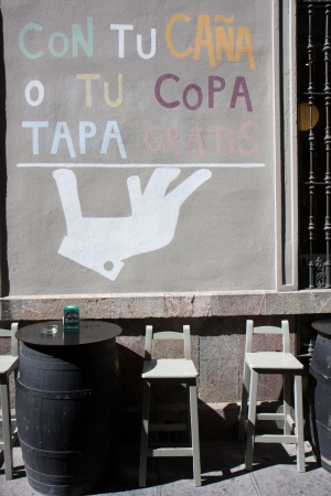 CORDOBA, SPAIN - OCTOBER 11: Sign outside a bar on October 11, 2012,  in Cordoba, Spain.