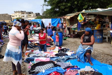 street market: Assomada, Cape Verde - December 5, 2012: Clothes to sell at the African street market.