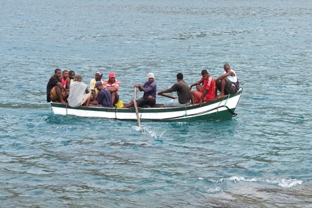 Tarrafal, Cape Verde - November 29, 2012: Some African fishermen are coming back to the village.
