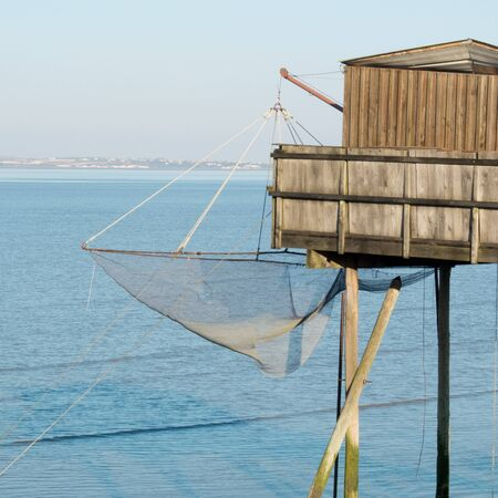 fishing cabin: Fishing cabin and carrelet net, near Bordeaux, France  Stock Photo