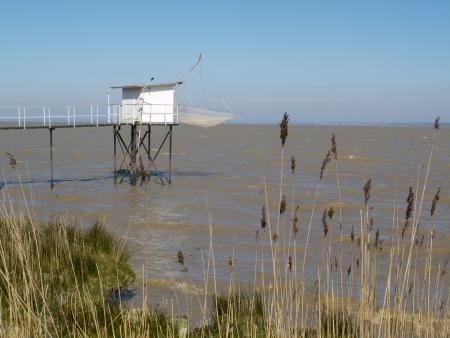 Fishing cabin and carrelet net, near Bodeaux, France