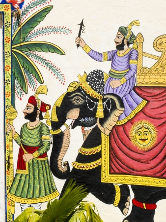 Black elephant of a prince, detail of a mural painting, Rajasthan, India