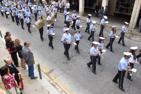 UBEDA, SPAIN -  SEPTEMBER 29  a brass band is parading in the street during the celebrations of the San Miguel, on September 29, 2013, in Ubeda, Spain   Editorial