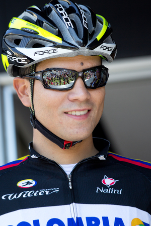 sud: LECTOURE, FRANCE - JUNE 20   The colombian cyclist Carlos Quintero at the departure of the first stage of the Route du Sud, on June 20, 2014 in Lectoure, France