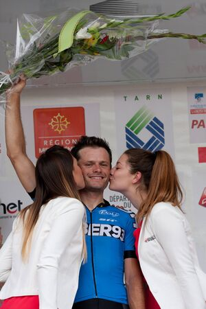 sud: AUCH FRANCE JUNE 18: The french cyclist Stiven Tronet on the podium at the first course of the Route du Sud on June 18 2015 in Auch France.