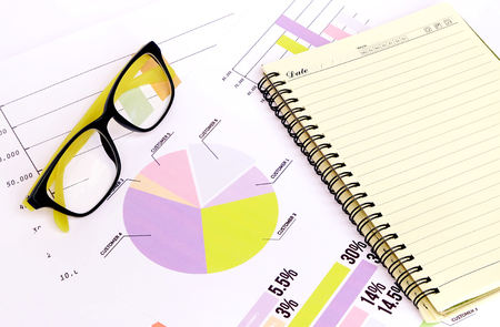 charts graphs: business charts graphs information and reports with glasses