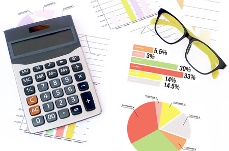 charts graphs: business charts graphs information and reports with calculator