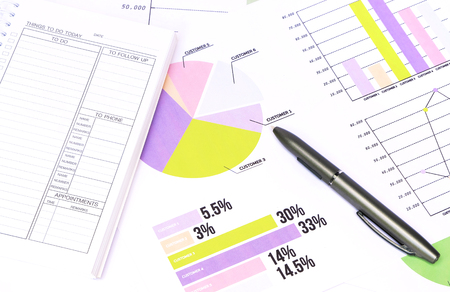 charts graphs: business charts graphs information and reports Stock Photo