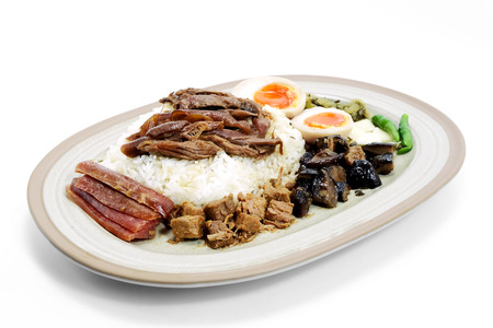 stewed: Stewed pork leg on rice with boiled eggs and preserve