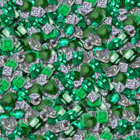 diamond stones: Diamonds and Emeralds Seamless Texture Tile Stock Photo