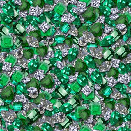 piedras preciosas: Los diamantes y esmeraldas textura Seamless Foto de archivo