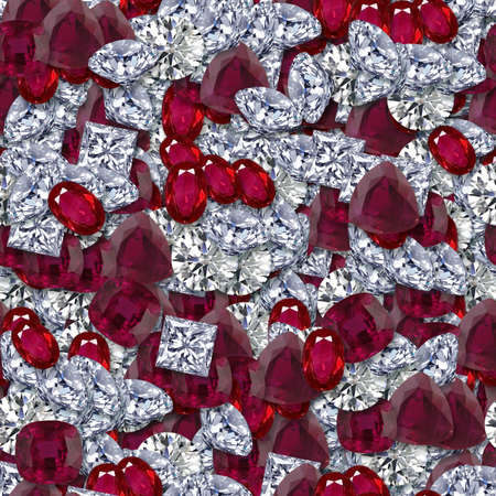 ダイヤモンドとルビーのシームレスなテクスチャ タイル