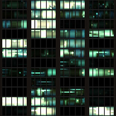 Office Building at Night Seamless Texture Tile Archivio Fotografico