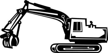 maquinaria pesada: Retro excavadora de vinilo listo