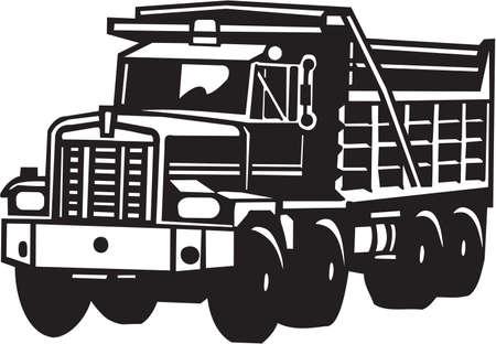 volteo: Vuelca camión de vinilo listo Vectores