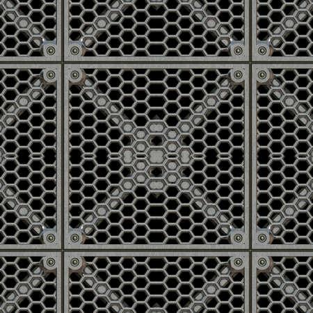 鋼鉄格子シームレス テクスチャ タイル 写真素材