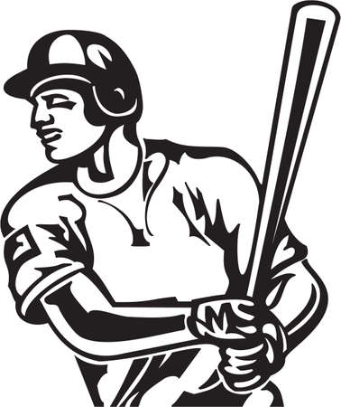 Baseball Batter Vinyl Ready Vector Illustration  イラスト・ベクター素材