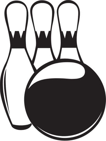 spare: Bowling Ball and Pins Vinyl Ready Illustration