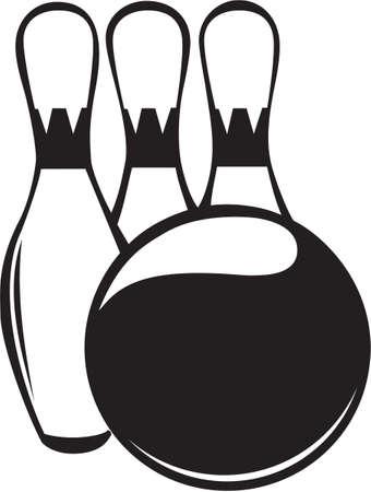 Bowling Ball and Pins Vinyl Ready Иллюстрация