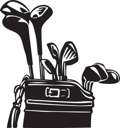 Golf Bag and Clubs Vinyl Ready Vettoriali