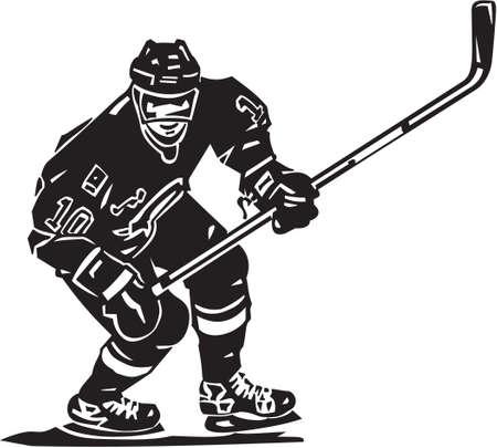 hokej na lodzie: Hokeista Vinyl Gotowe Ilustracja