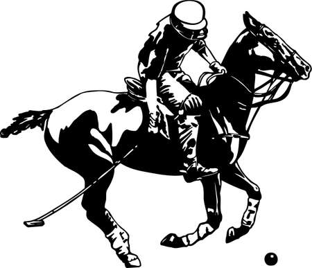 equestrian sport: Polo Player Vinyl Ready Illustration