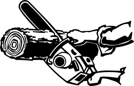 Chain Saw Vinyl Ready Vector Illustration