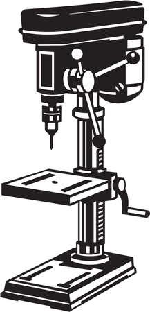 taladro: Prensa de taladro Ilustración vinilo Ready Vector Vectores