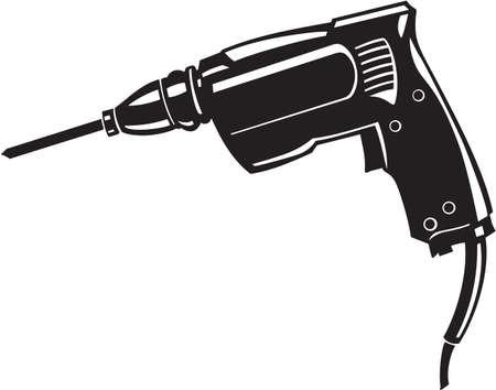 taladro electrico: Taladro el�ctrico Ilustraci�n Vector Listas para vinilo