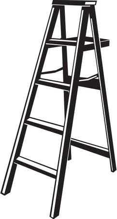 step ladder: Step Ladder Vinyl Ready Vector Illustration
