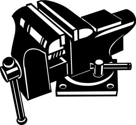 Bench Vise Vinyl Ready Vector Illustration Иллюстрация