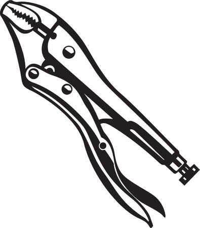 grip: Vise Grip Wrench Vinyl Ready Vector Illustration