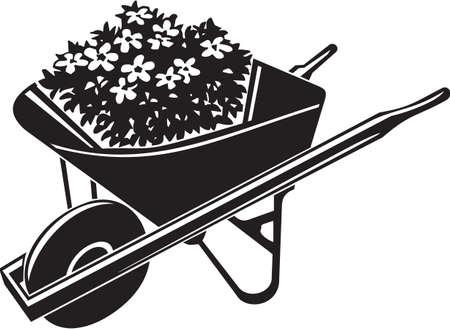 paysagiste: Brouette avec Vinyl Fleurs Illustration Vecteur Prêt