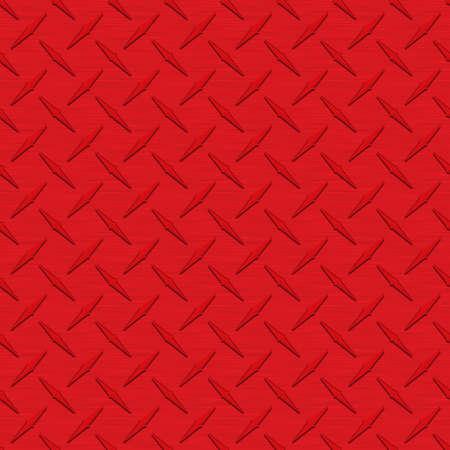 赤 Diamondplate 金属シームレス テクスチャ タイル