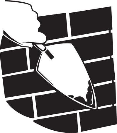 brick and mortar: Brick Layer Vinyl Ready Illustration