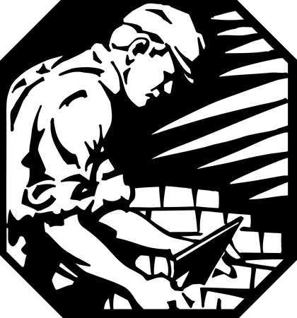 trowel: Brick Layer Vinyl Ready Illustration