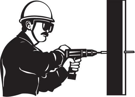 Drill Operator Vinyl Ready Illustration