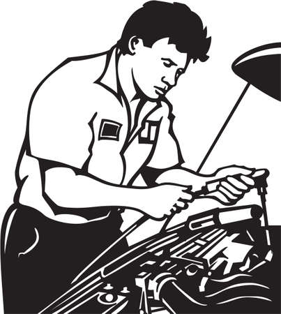 vinyl ready: Auto Mechanic Vinyl Ready Illustration