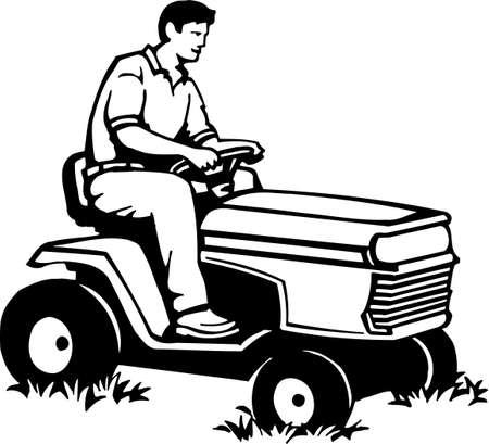 lawn: Rijden grasmaaier Operator Vinyl Ready Illustratie Stock Illustratie