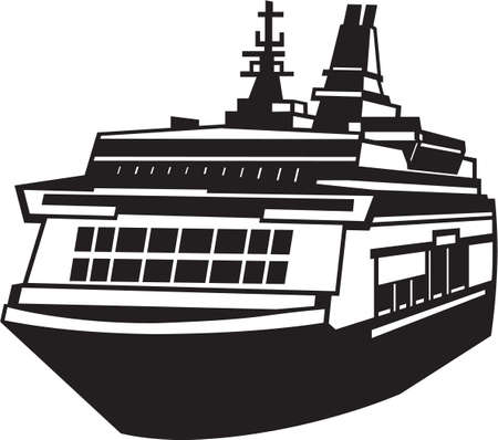 Ferry Vinyl Ready Illustration Stock Vector - 14353813