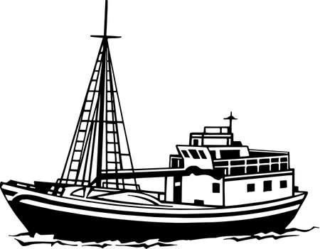 Fishing Trawler Vinyl Ready Illustration Vettoriali