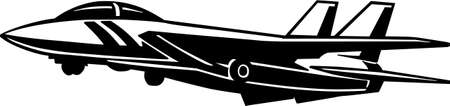 military aircraft: Jet Fighter Aircraft Vinyl Ready Illustration