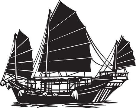 Chinese Junk Vinyl Ready Illustration Stock Illustratie