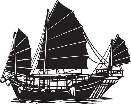 junk boat: Chinese Junk Vinyl Ready Illustration Illustration