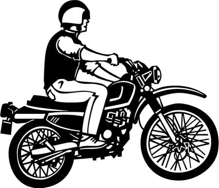 Motorcycle Rider Vinyl Ready Illustration Illustration