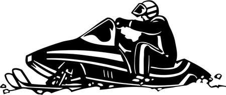 Snowmobile Vinyl Ready Illustration Çizim