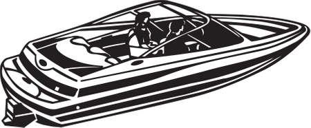 Power Boat Vinyl Ready Illustration Illustration
