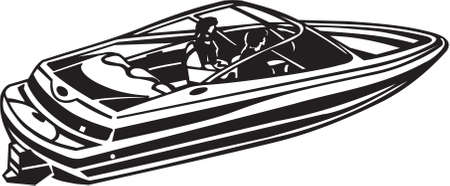 Power Boat Vinyl Ready Illustration Illustration